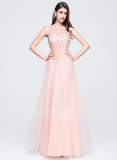 A-Line/Princess Scoop Neck Floor-Length Tulle Prom Dress With Beading Appliques Lace Sequins (018070372) - JJsHouse.  $157