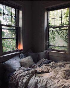 Cozy bedroom corner – cozy home comfy Comfy Bedroom, Bedroom Inspo, Bedroom Decor, Bedroom Ideas, Bedroom Inspiration Cozy, Bedroom Furniture, Dark Cozy Bedroom, Bedroom Photos, Bedroom Plants