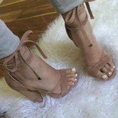 Leg Wrap Chunky Heels