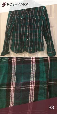 """Green plaid flannel button shirt Reposh. H&M size 12. Bust pit to pit is 18.5"""" Length from shoulder 23"""". H&M Tops Button Down Shirts"""