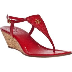 TORY BURCH Britton Wedge Sandal Flame Red Leather ($275) ❤ liked on Polyvore featuring shoes, sandals, wedges, red leather, leather shoes, tory burch, wedge sandals, cork wedge sandals and red wedge sandals