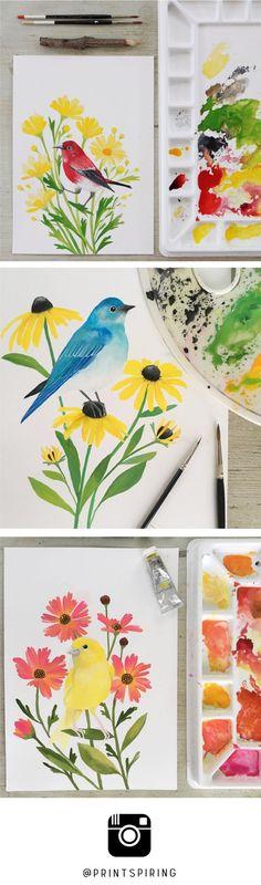 Inspirational Instagram! A Bird & Flower Alphabet Painting A Day Challenge! Beautiful watercolour + gouache bird and flower paintings by @PRINTSPIRING