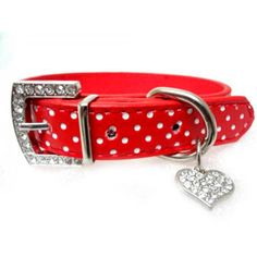 Rhinestone Bling Dog Collars Polka Dots Leather Pet Collars Neck Buckle Strap Crystal Collar for Pets Dog // Worldwide FREE Shipping //     #dogs