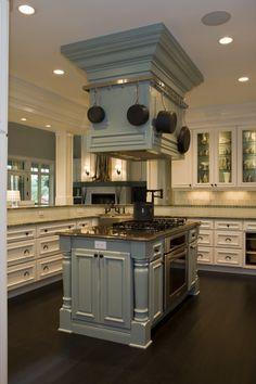 Beautiful functional stove island...perfect pot rack