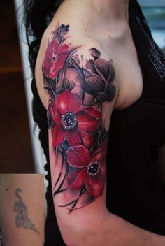 Flower half sleeve tattoo - Flowers had become part of our history and cultures for centuries. And flowers are also popular tattoo ideas as most of then carries special symbolic meanings for their unique attributes and historical reasons.