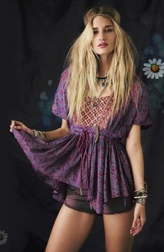 Sexy purple boho chic top with gypsy style embellishments for a modern hippie allure. FOLLOW http://www.pinterest.com/happygolicky/the-best-boho-chic-fashion-bohemian-jewelry-gypsy-/ for the BEST Bohemian fashion trends of 2014 in jewelry & clothing.