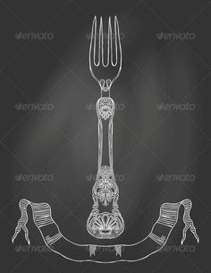 Illustration of an Ornamented fork