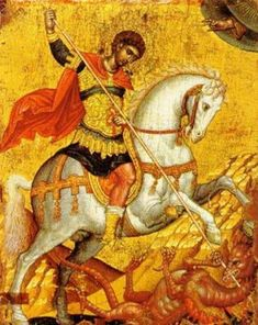 Icon of Saint George Byzantine Museum of Chania Church of San Salvatore Theotokopoulou Street, Old Town CRETE Byzantine Icons, Byzantine Art, Religious Icons, Religious Art, Hl Georg, St George S Day, Holy Art, Saint George And The Dragon, Russian Icons