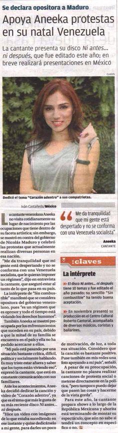 Entrevista en @Milenio.com  Apoyando a mi país y diciendo en voz alta que soy de la oposición y que Nicolás Maduro tiene que salir! Me contenta saber que el pueblo Venezolano este despertando y protestando por su libertad! #SOSVenezuela #Venezuela #Milenio #interview #press #media