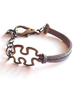 Autism bracelet autism awareness jewelry puzzle by GenevasSky