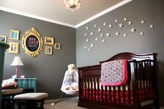 Love this nursery....not sure about the grey walls but love the colors...aqua, pink, yellow...yes please!