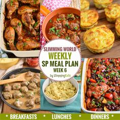 Diet Meal Plans Slimming Eats SP Weekly Meal Plan - Week 6 - Slimming World - taking the work out of planning so that you can just cook and enjoy the food. Sp Meals Slimming World, Slimming World Meal Planner, Slimming World Recipes Syn Free, Slimming World Plan, Slimming Eats, Planning Budget, Meal Planning, Sliming World, Sw Meals