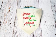 Christmas Dog Collar Bandana Religious Dog Bandana Jesus is. Customize to be red instead of white. Size: Small.