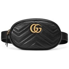 Gucci Gg Marmont Matelassé Leather Belt Bag (1 582 035 LBP) ❤ liked on Polyvore featuring bags, black, leather belt bag, genuine leather belt, leather bag belt, real leather belts and genuine leather bags