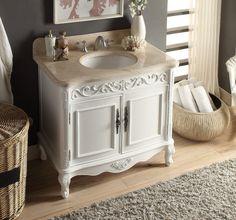 """39"""" Rising Sun Beige Marble Top Carbone Bathroom Sink Vanity model # HF-1092B"""