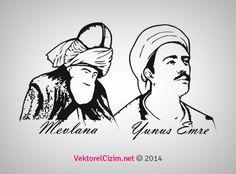 Vektörel Çizim | Mevlana, Yunus Emre Silüeti