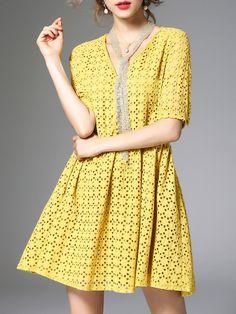 #AdoreWe StyleWe Midi Dresses - ZERACO Yellow V Neck A-line Pierced Short Sleeve Midi Dress - AdoreWe.com