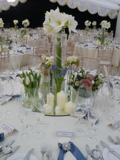 Beautiful wedding table setting by www.tophatmarquees.co.uk