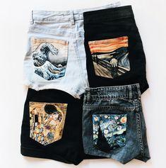 Hand Painted Denim Shorts by Alba González on. Painted Jeans, Painted Clothes, Painted Shorts, Hand Painted Shoes, Diy Fashion, Fashion Outfits, Womens Fashion, Fashion Fall, Fashion Shorts