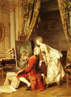 Emile Pierre Metzmacher (1815 - 1890) -The artist and his admirer