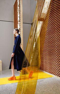 "Formafantasma uses terracotta and PVC to create ""deconstructed architecture"" for Sportmax catwalk // Sportmax catwalk Milan fashion weekss16 | by Formafantasma"