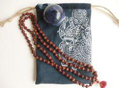 Linen Ganesh Mala / Tarot Bag, Buddhist dharma bag, block printed indigo blue & bluish-white lined linen drawstring bag, meditation gift by GaneshasRat on Etsy