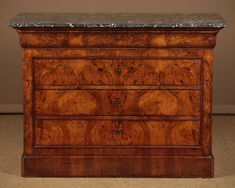 Walnut & Marble Top Commode 1860 - Decorative Collective Antiques Online, Selling Antiques, Walnut Veneer, House Numbers, Marble Top, Chest Of Drawers, Drawer Unit, Dresser, Drawer
