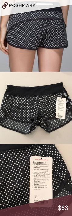 """NWT BIPB / BLACK LULULEMON RUN SPEED SHORT -Size 4 Brand: Lululemon Athletica run: Speed Short 2.5 """" inseam          Condition: New with tag    Size 4    Black white polka dots BIPB: BLK      🌼price listed is firm  📌NO  TRADES  🛑NO LOWBALL OFFERS  ⛔️NO RUDE COMMENTS  🚷NO MODELING  ☀️Please don't discuss prices in the comment box. Make a reasonable offer and I'll either counter, accept or decline. lululemon athletica Shorts"""
