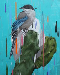 New Paintings of Birds Set Against Colorful Glitches by Frank Gonzales