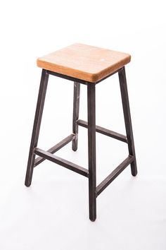 Low Industrial Steel and Oak Stool