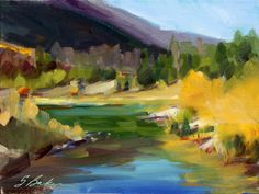Landscape Painting Autumn in Colorado Officers by SuzieBakerArt, $230.00
