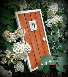 Shabby country fairy door with wide real wood by WarmWeenies.etsy.com