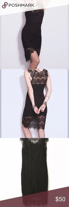Free People Peekaboo Lace Slip Free People Intimately Peekaboo Lace Slip Dress XS Black. Worn Once, Perfect Condition. Free People Dresses Midi