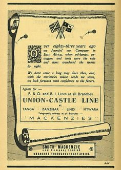 Union Castle East Africa Ad 1960 East Africa, Vintage Travel Posters, Africa Travel, Oil Lamps, Cruise, Wedding Invitations, Castle, Zimbabwe, Kenya