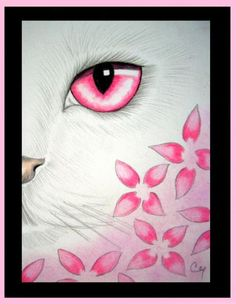 Art: White Cat - Pink Flowers by Artist Cyra R. Cancel
