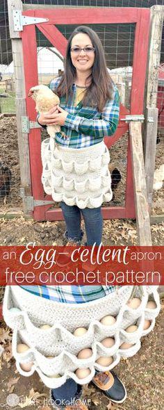 Crochet An Egg-Cellent Apron – Free Pattern - 32 Free Crochet Apron Patterns - Crochet Apron for Eggs - DIY & Crafts