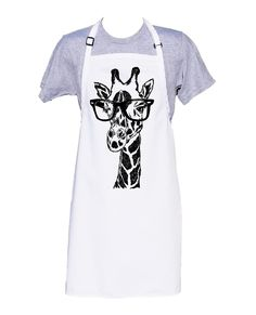 Kitchen Apron - Retro Apron - Baking Apron - Long Apron - Giraffe with Glasses - Kitchen Gifts - Gifts for Mom - Cooking Gift Ideas - Funny Kitchen Aprons, Kitchen Gifts, Gifts For Cooks, Gifts For Mom, Historical Women, Historical Photos, Dress Patterns, Apron Patterns, Funny Aprons