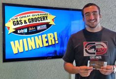 Michael Schumacher won $100 in The Great Gas & Grocery Giveaway from KXLY4, Divine's & Yokes.