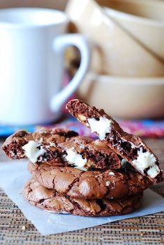 These chocolate cookies with white chocolate chips are seriously delectable, and addictive. Pair them with Kahlúa and Coffee.