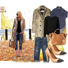 Love this casual outfit with the animal print coat!