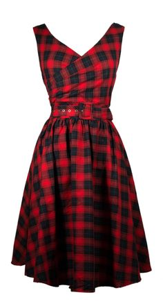 May 50s Swing Dress in Red and Navy | Blame Betty