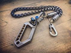 The Veteran-II / Biker Wallet chain / Drone carabiner with double swivel Cal 9mm bushings Wallet Chain, Everyday Carry, Biker, Personalized Items, Jewelry, Knives, Jewlery, Jewerly, Schmuck