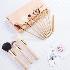 amoore 12Pcs Makeup Brushes Makeup Brush set Makeup Brush with Case Foundation Brush Powder Brush