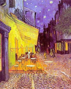 Vincent Van Gogh Cafe Terrace at Night. I used to have this print when I was a teenager and I don't know what happened to it:( had forgotten all about it until I found this pin