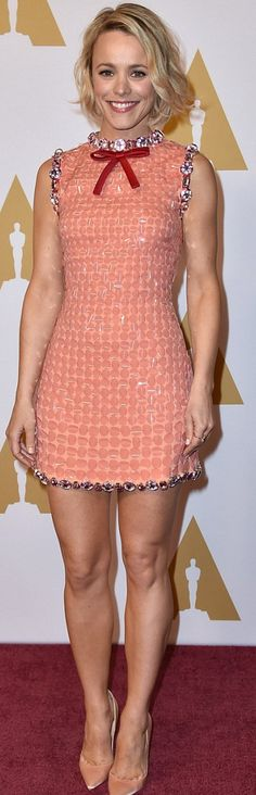 Who made  Rachel McAdams' pink sequin and bow dress?