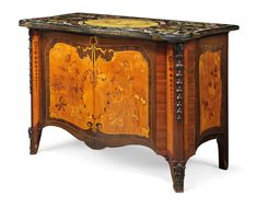 c1775 A GEORGE III PATINATED BRONZE-MOUNTED SATINWOOD, PARTRIDGEWOOD, AMARANTH AND MARQUETRY COMMODE WITH AN ITALIAN SCAGLIOLA AND POLYCHROME TOP THE TOP ATTRIBUTED TO PIETRO ANTONIO PAOLINI, SECOND QUARTER 18TH CENTURY, THE COMMODE CIRCA 1775, ATTRIBUTED TO MAYHEW AND INCE Price realised  GBP 80,500