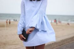 NWT ZARA BLUE POPLIN JUMPSUIT DRESS Bell Sleeve Romper SIZE M Ref.7521/285 #Zara #Jumpsuit #Casual