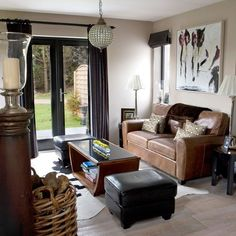 Modern Country Style: Modern Country Cottage Tour ~ Nice use of a limited color pallet in this house. And it's in SCOTLAND? Small Living Room Decor, Brown Couch Living Room, Living Room Color, Apartment Design, Home, Apartment Interior, Small Living Room, House Interior, Neutral Living Room
