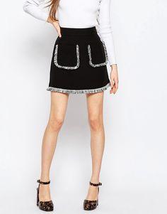 Image 4 ofASOS A-Line Skirt with Fringe