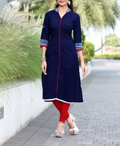 New Latest Blue Cotton Slub Designer Kurti Buy Online Shoping At We WiLL Fashion
